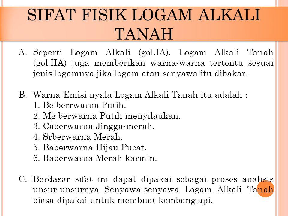 SIFAT FISIK LOGAM ALKALI TANAH
