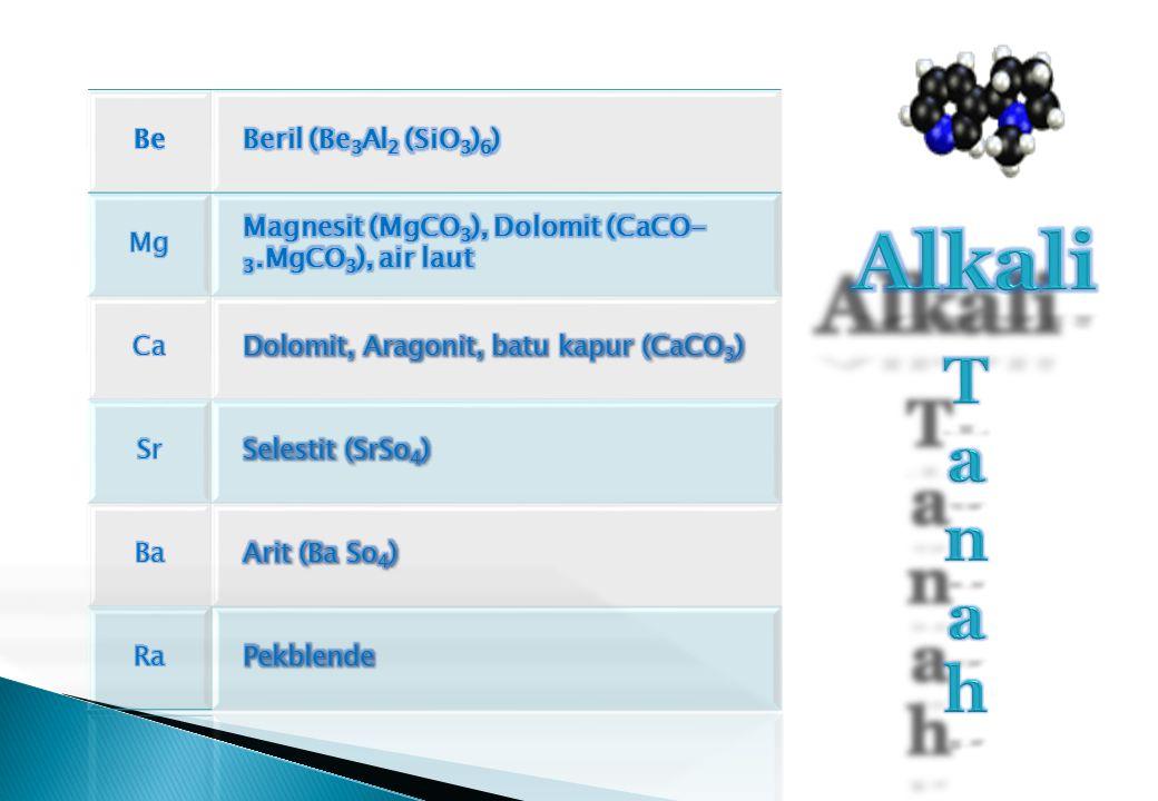 Alkali T a n h Be Beril (Be3Al2 (SiO3)6) Mg