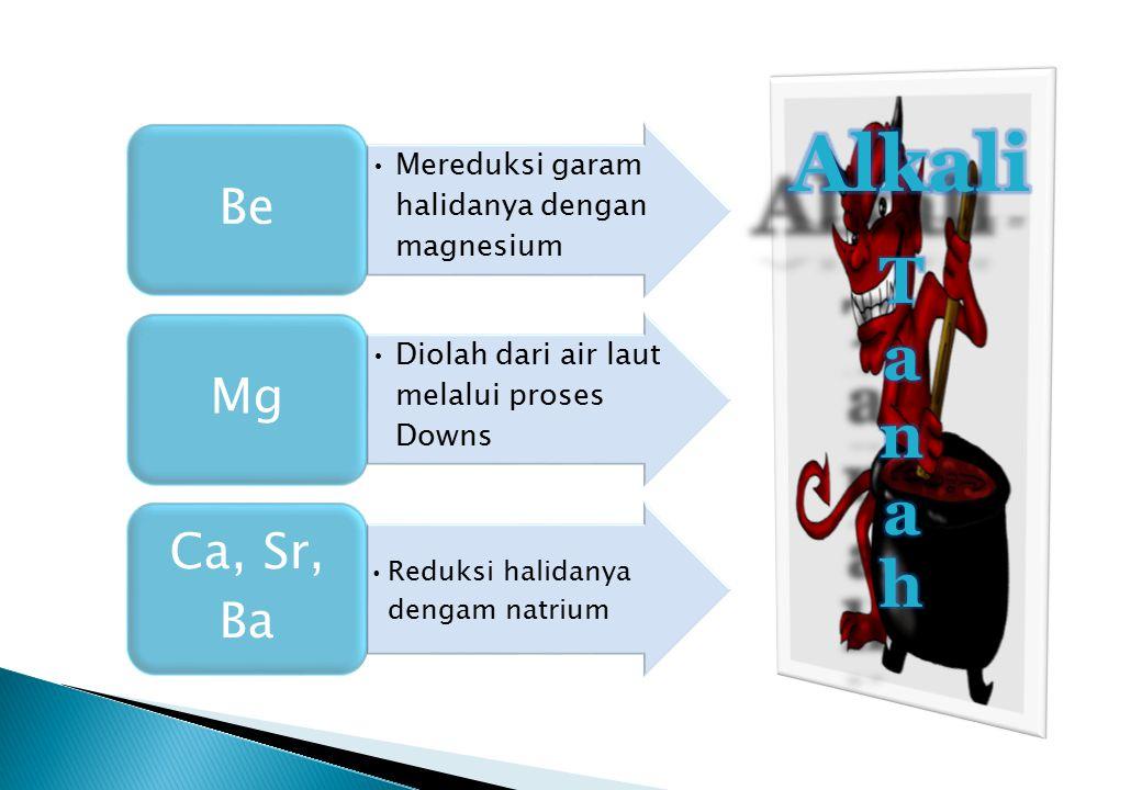 Alkali T a n h Reduksi halidanya dengam natrium Be