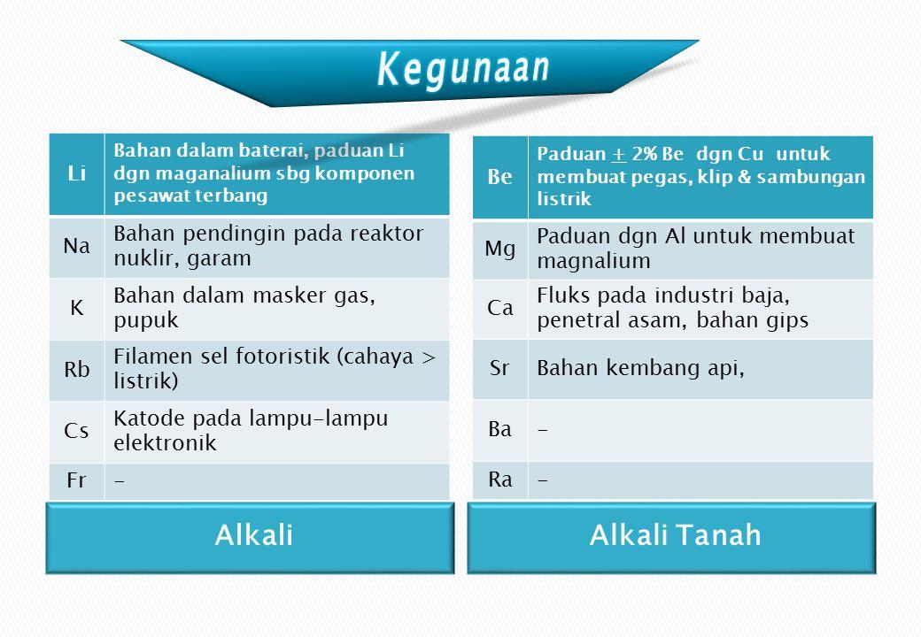 Kegunaan Alkali Alkali Tanah Li Na