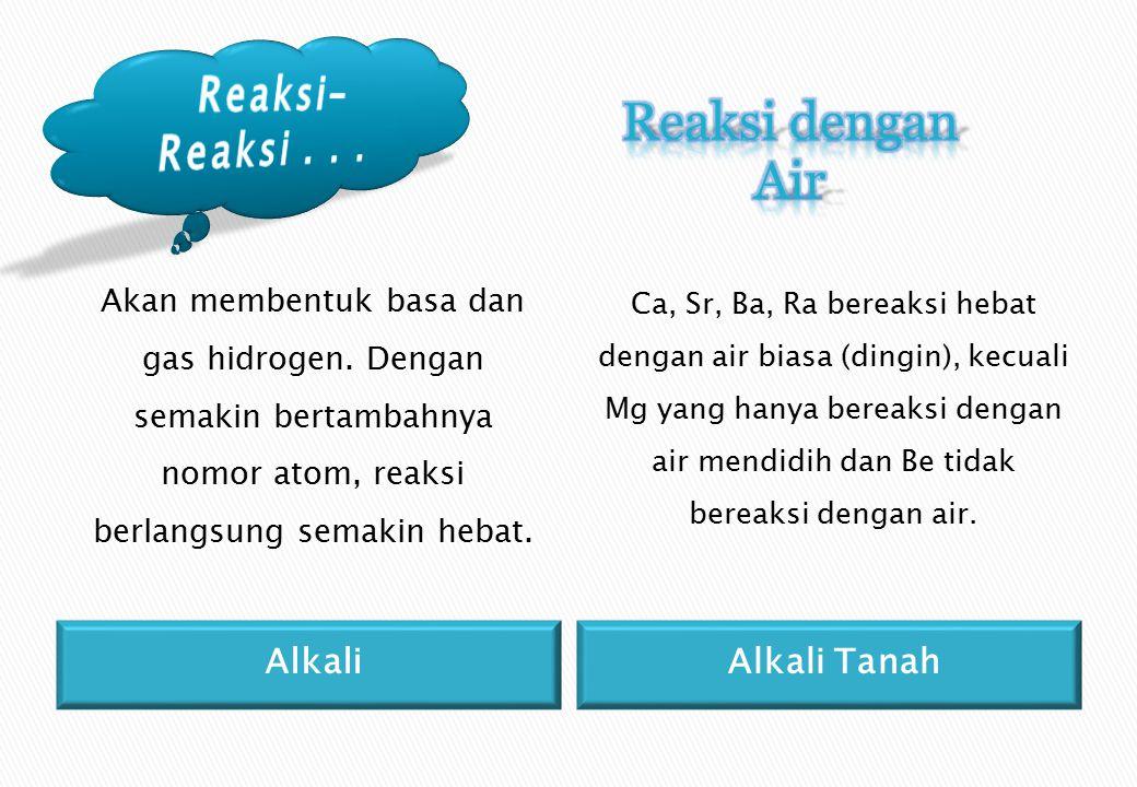Reaksi dengan Air Reaksi-Reaksi . . . Alkali Alkali Tanah