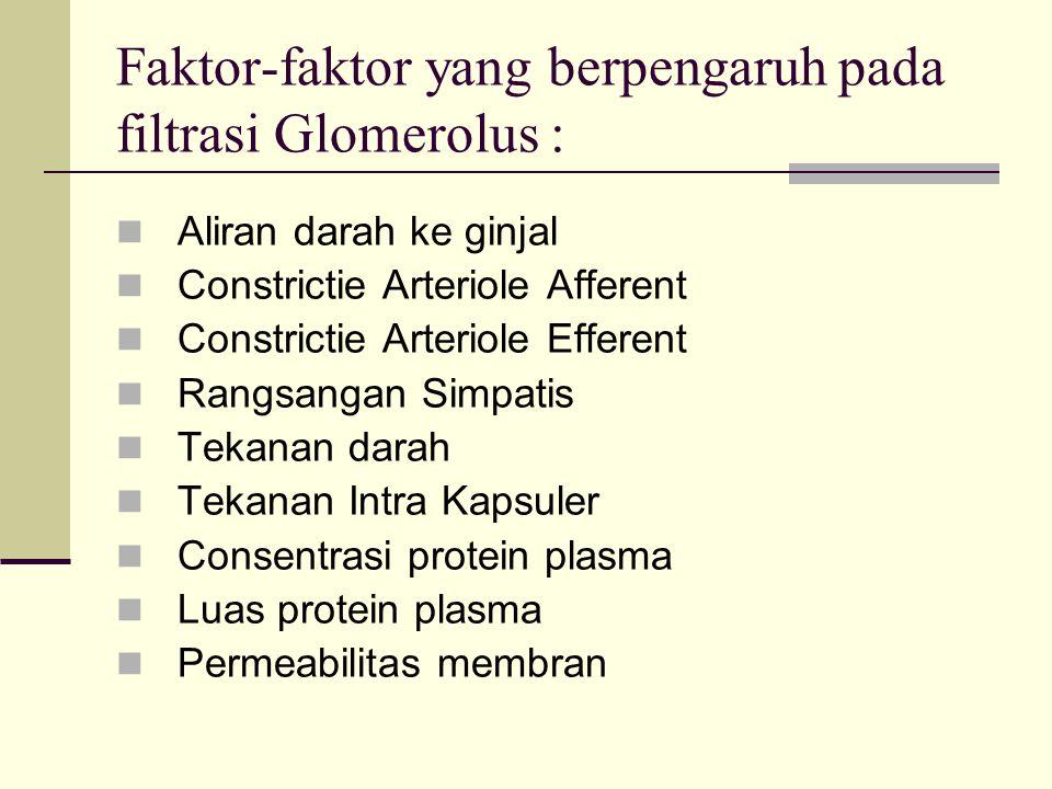 Faktor-faktor yang berpengaruh pada filtrasi Glomerolus :