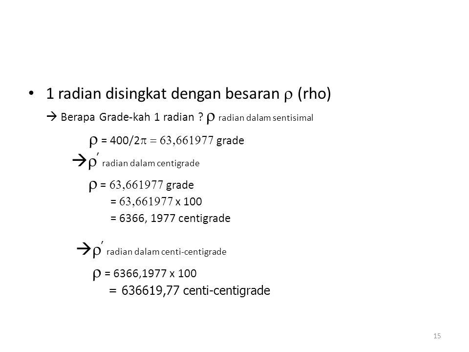 1 radian disingkat dengan besaran r (rho)