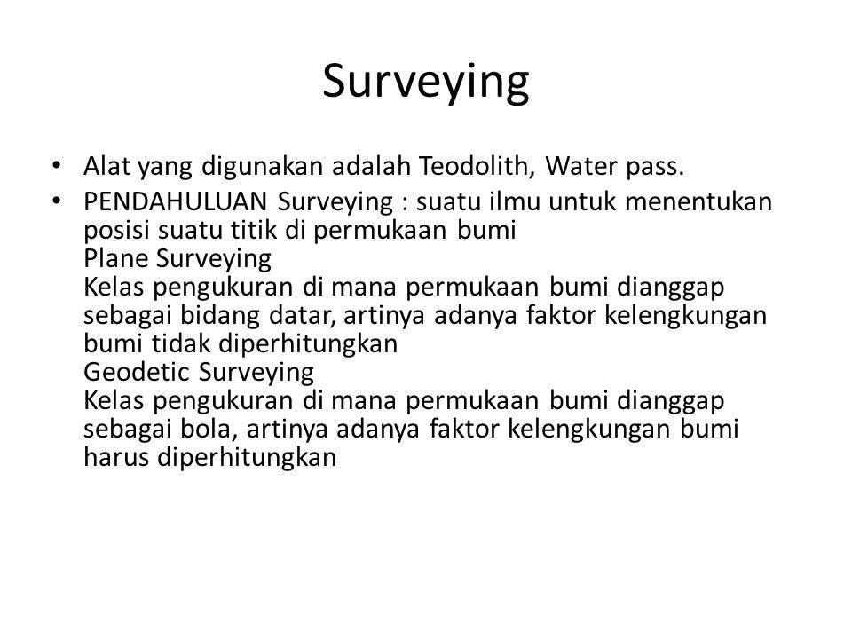 Surveying Alat yang digunakan adalah Teodolith, Water pass.