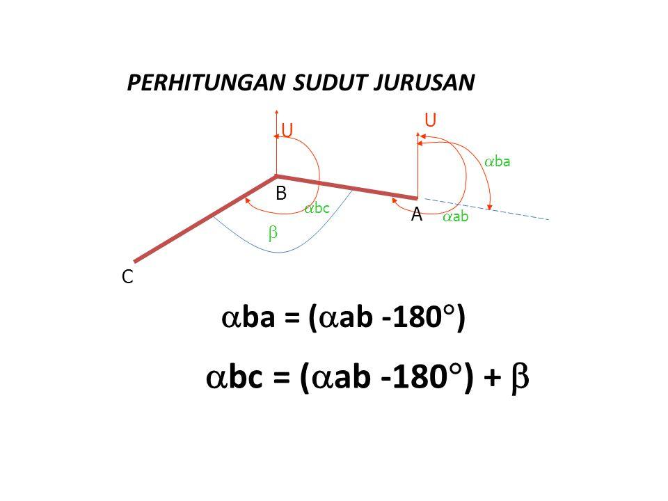 bc = (ab -180) +  ba = (ab -180) PERHITUNGAN SUDUT JURUSAN U U