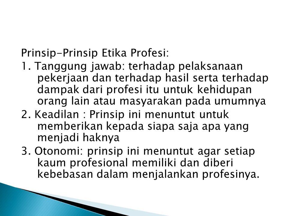 Prinsip-Prinsip Etika Profesi: