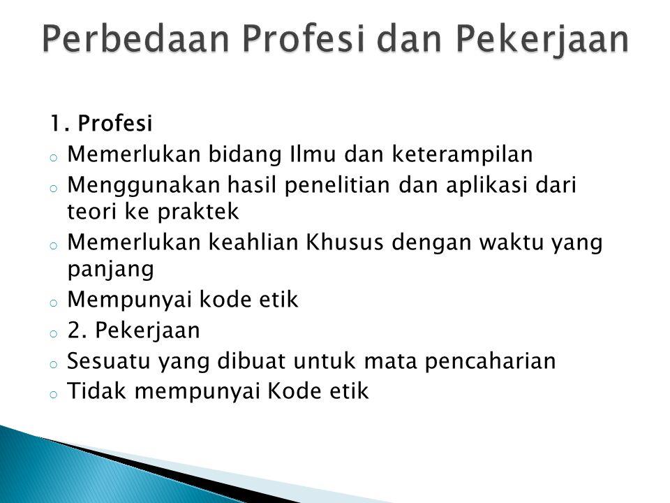 Perbedaan Profesi dan Pekerjaan