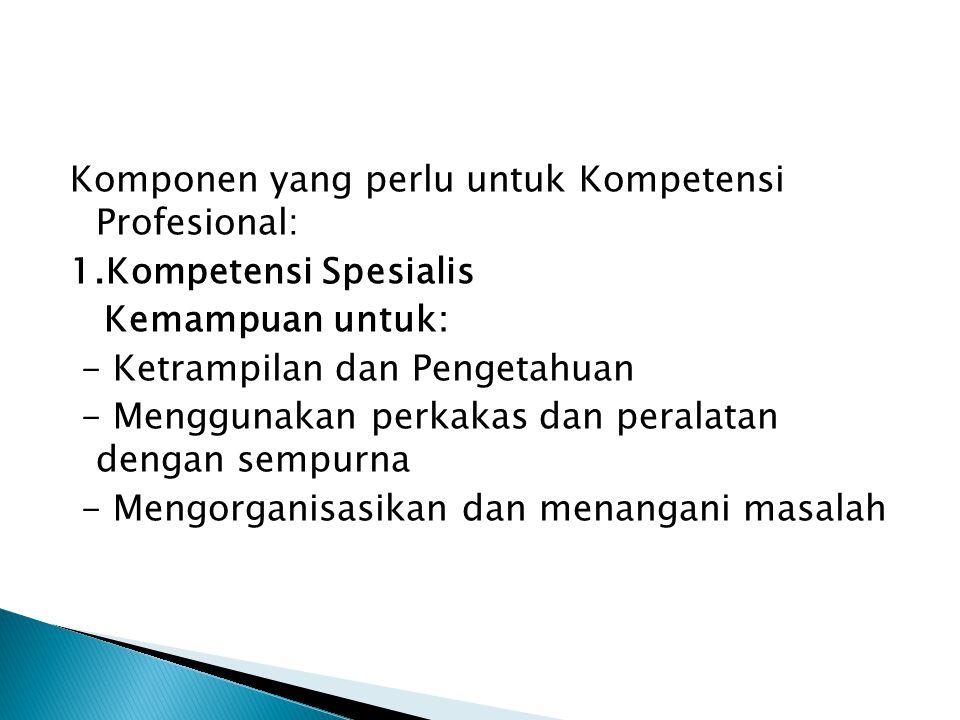 Komponen yang perlu untuk Kompetensi Profesional: 1