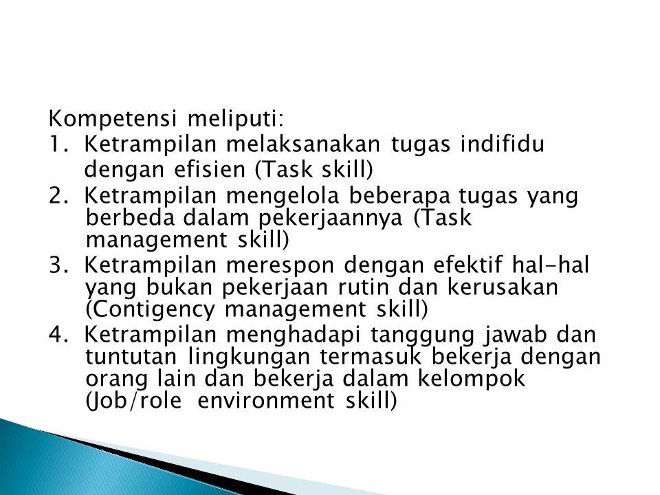 Kompetensi meliputi: 1. Ketrampilan melaksanakan tugas indifidu dengan efisien (Task skill) 2.