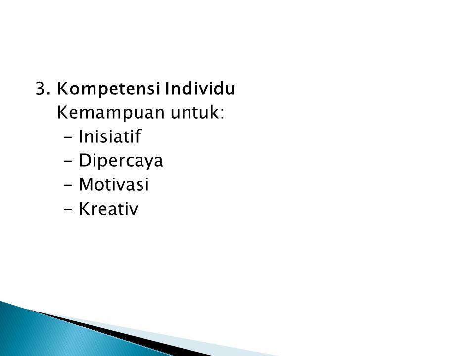 3. Kompetensi Individu Kemampuan untuk: - Inisiatif - Dipercaya - Motivasi - Kreativ