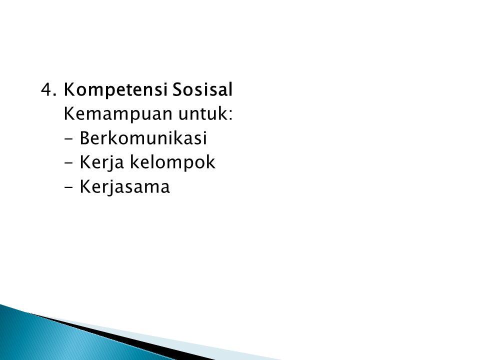 4. Kompetensi Sosisal Kemampuan untuk: - Berkomunikasi - Kerja kelompok - Kerjasama