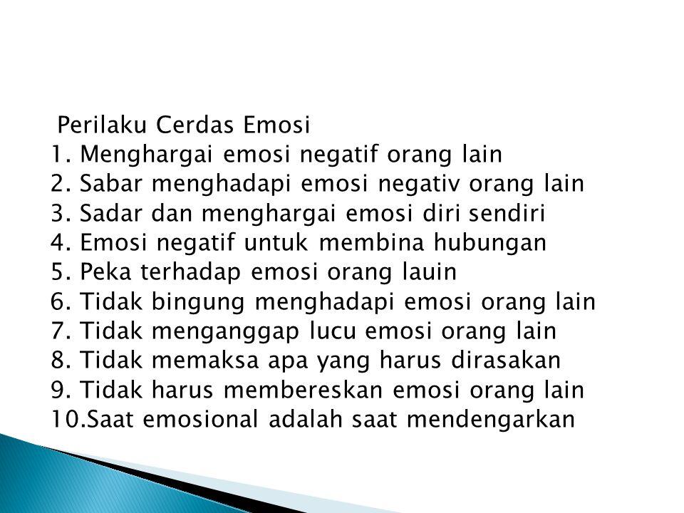 Perilaku Cerdas Emosi 1. Menghargai emosi negatif orang lain 2