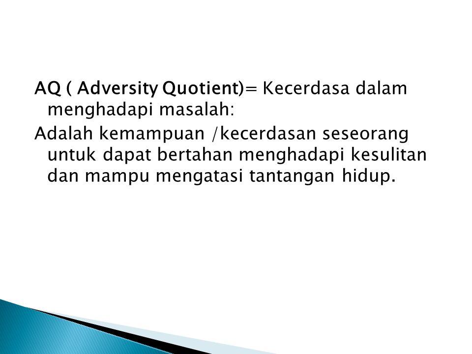 AQ ( Adversity Quotient)= Kecerdasa dalam menghadapi masalah: Adalah kemampuan /kecerdasan seseorang untuk dapat bertahan menghadapi kesulitan dan mampu mengatasi tantangan hidup.