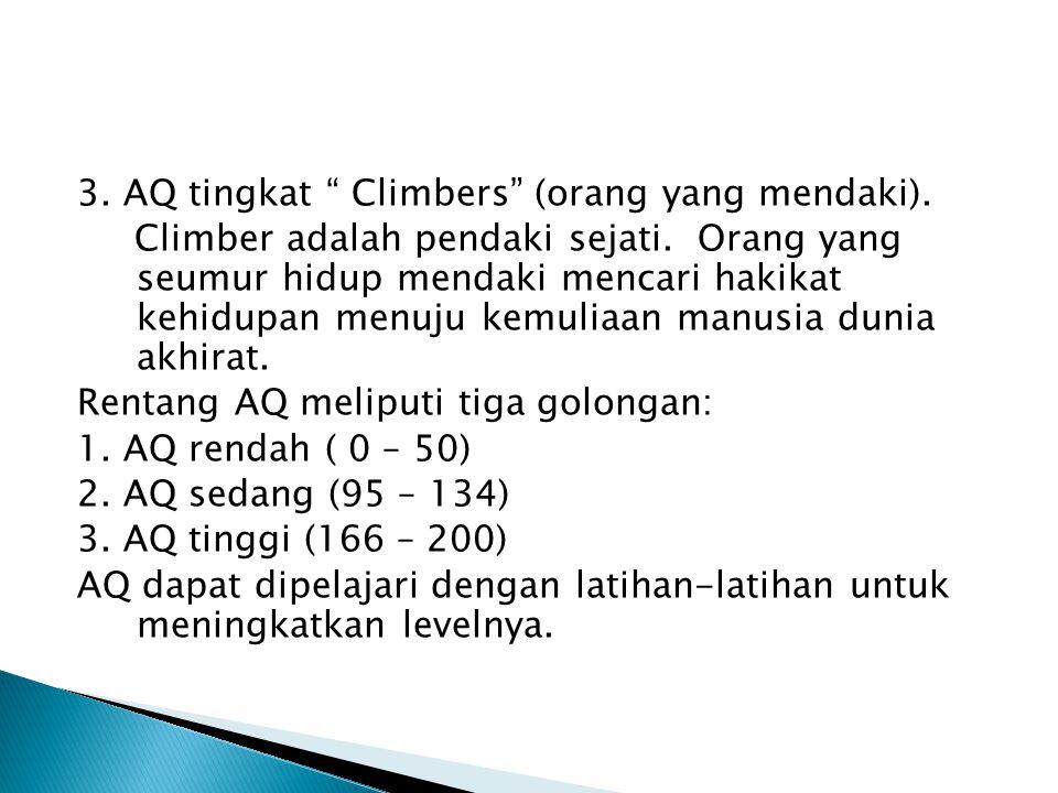 3. AQ tingkat Climbers (orang yang mendaki)