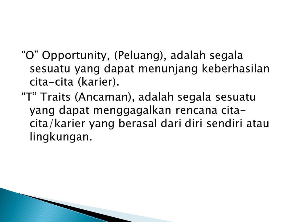 O Opportunity, (Peluang), adalah segala sesuatu yang dapat menunjang keberhasilan cita-cita (karier).