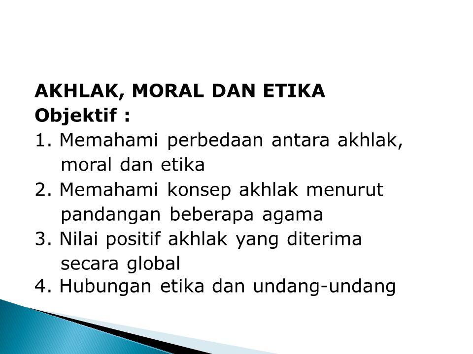 AKHLAK, MORAL DAN ETIKA Objektif : 1