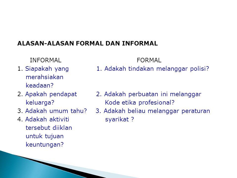 ALASAN-ALASAN FORMAL DAN INFORMAL INFORMAL FORMAL 1. Siapakah yang 1