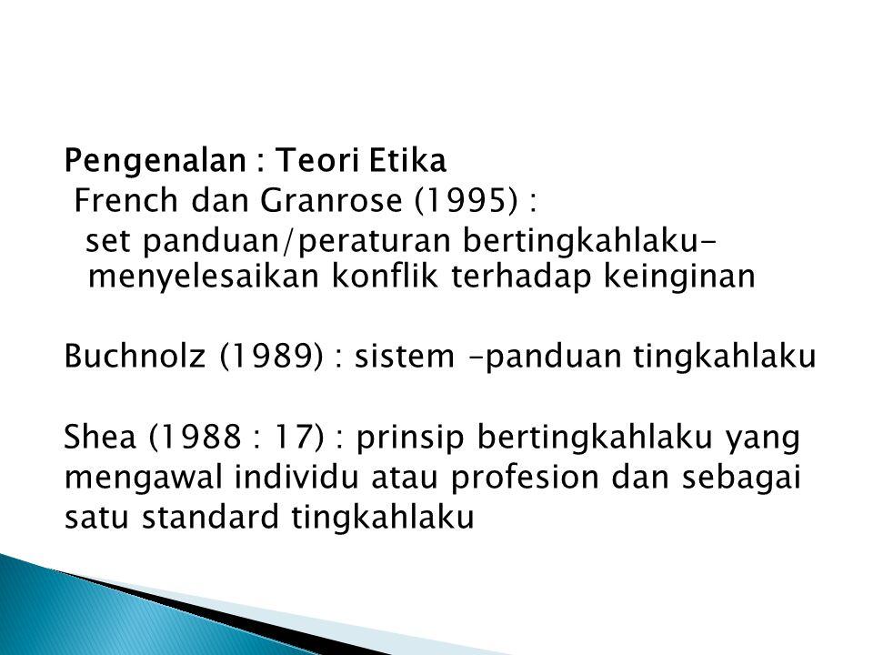Pengenalan : Teori Etika French dan Granrose (1995) : set panduan/peraturan bertingkahlaku- menyelesaikan konflik terhadap keinginan Buchnolz (1989) : sistem –panduan tingkahlaku Shea (1988 : 17) : prinsip bertingkahlaku yang mengawal individu atau profesion dan sebagai satu standard tingkahlaku