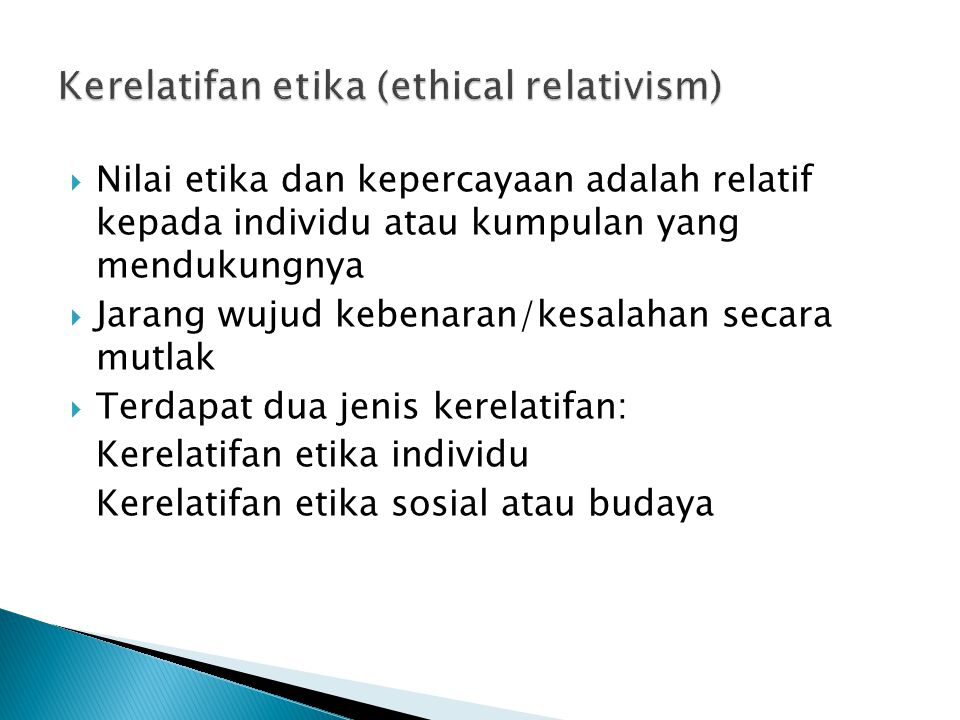 Kerelatifan etika (ethical relativism)
