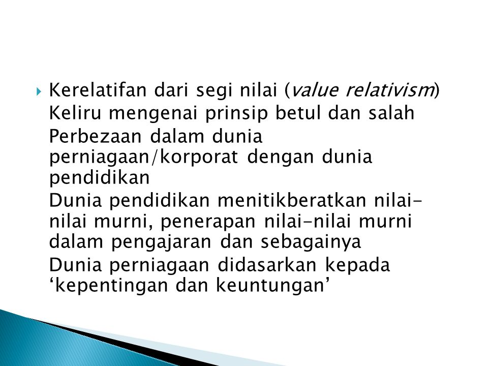 Kerelatifan dari segi nilai (value relativism)