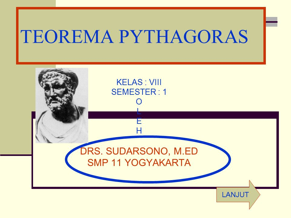 TEOREMA PYTHAGORAS DRS. SUDARSONO, M.ED SMP 11 YOGYAKARTA KELAS : VIII