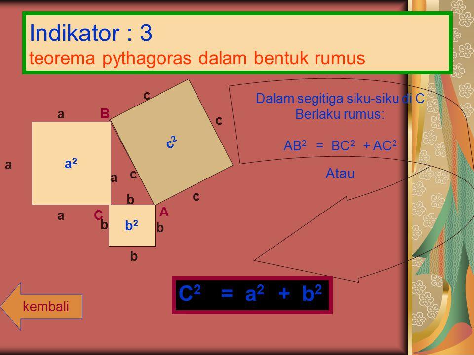 Indikator : 3 teorema pythagoras dalam bentuk rumus