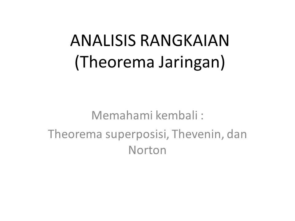 ANALISIS RANGKAIAN (Theorema Jaringan)