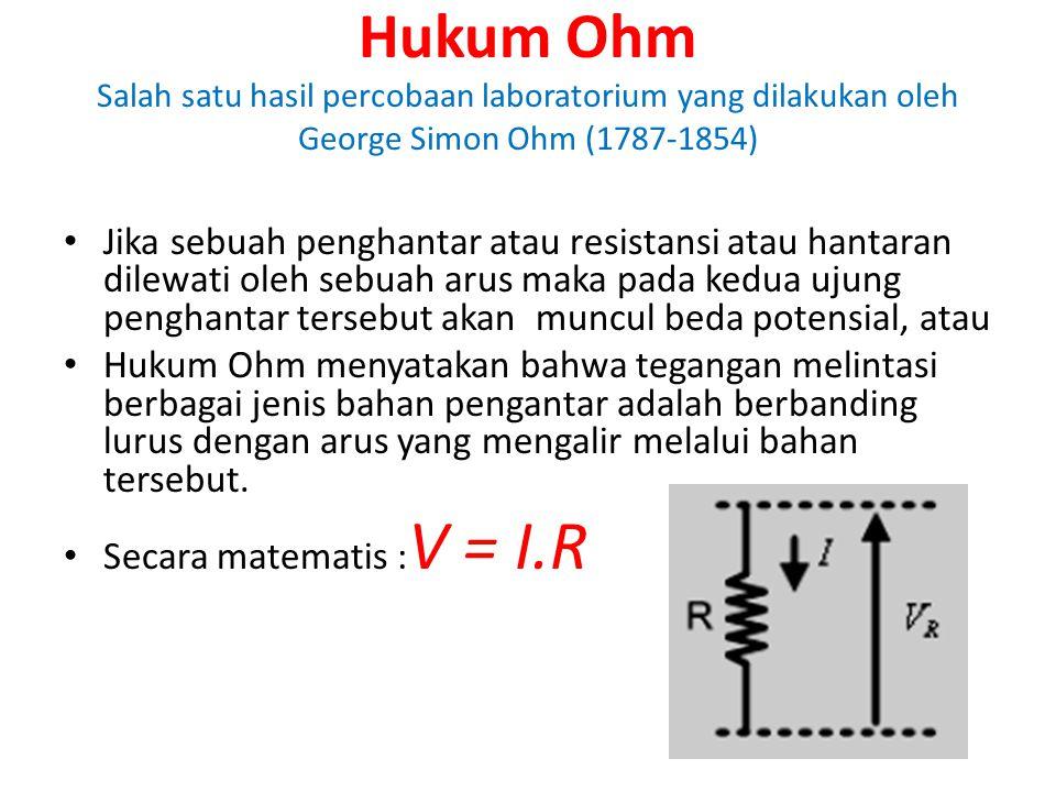 Hukum Ohm Salah satu hasil percobaan laboratorium yang dilakukan oleh George Simon Ohm (1787-1854)