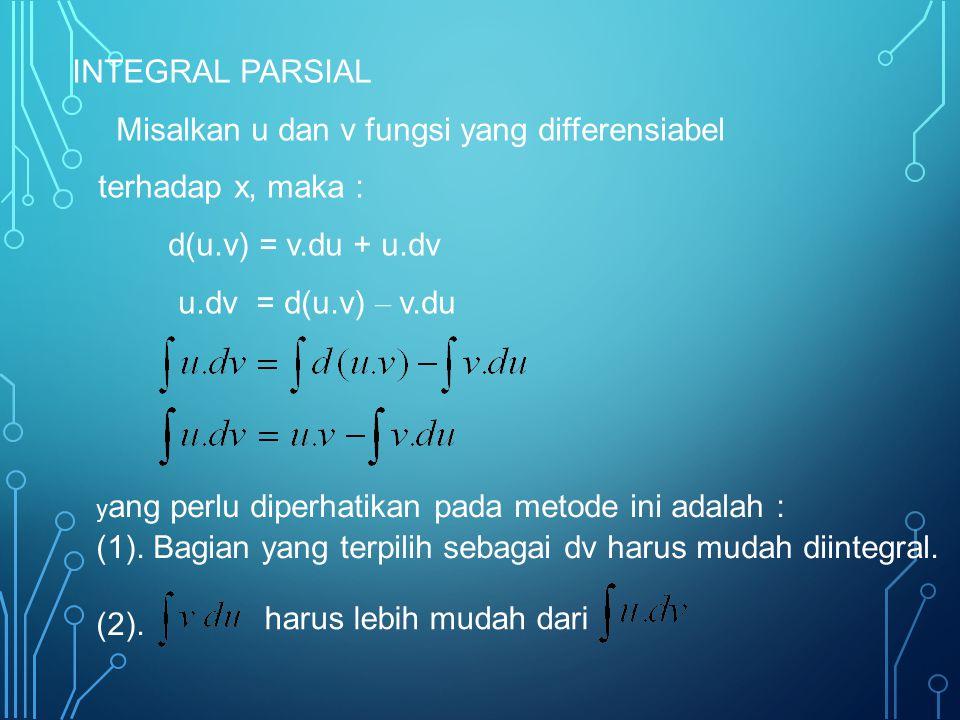 Misalkan u dan v fungsi yang differensiabel terhadap x, maka :