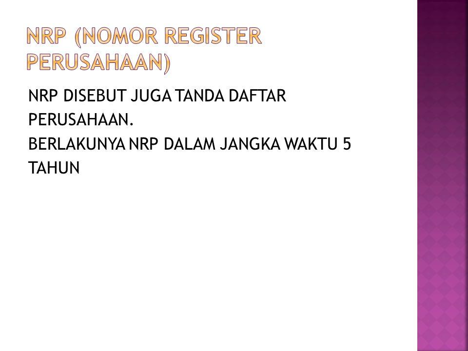 NRP (NOMOR REGISTER PERUSAHAAN)