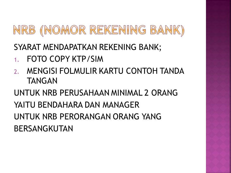 NRB (NOMOR REKENING BANK)