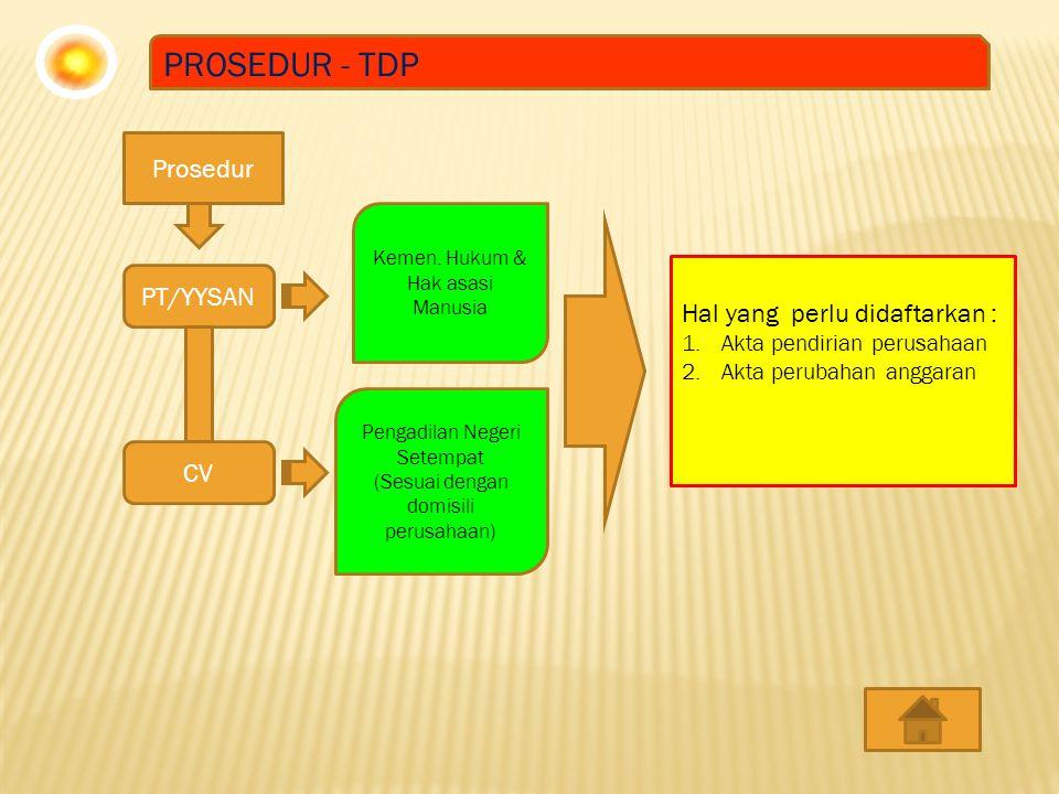PROSEDUR - TDP Prosedur PT/YYSAN Hal yang perlu didaftarkan : CV