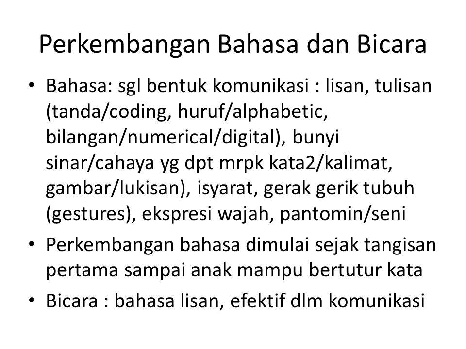 Perkembangan Bahasa dan Bicara