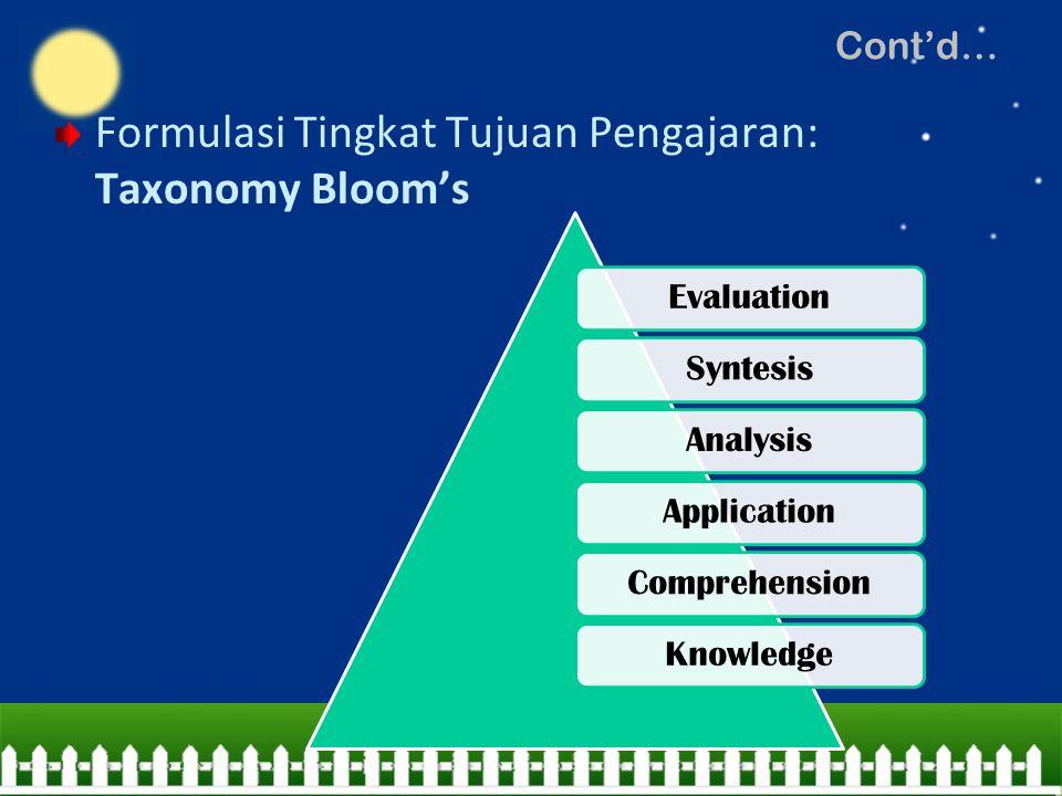 Formulasi Tingkat Tujuan Pengajaran: Taxonomy Bloom's