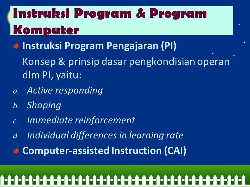 Instruksi Program & Program Komputer