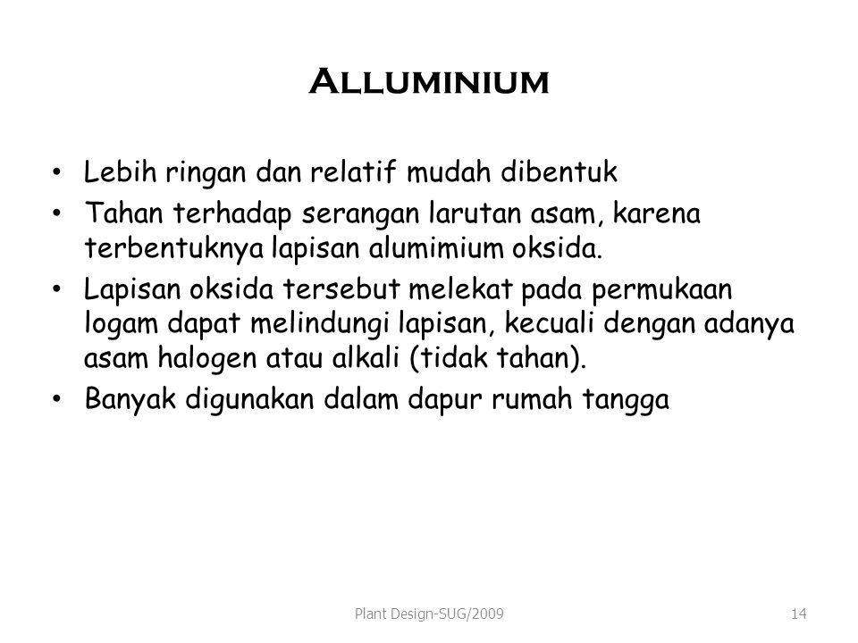 Alluminium Lebih ringan dan relatif mudah dibentuk