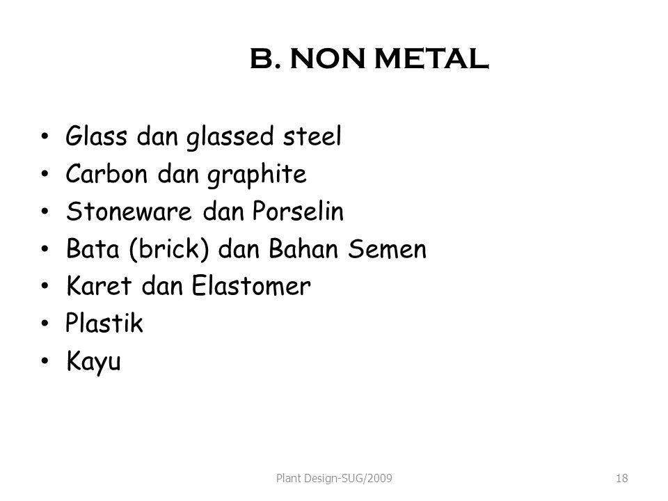B. NON METAL Glass dan glassed steel Carbon dan graphite
