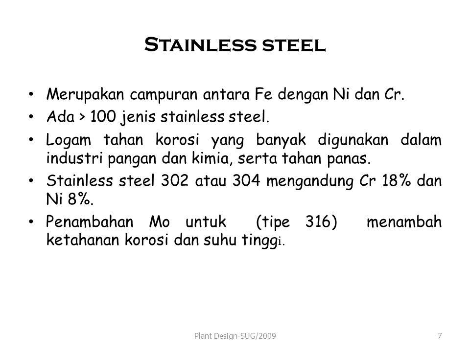 Stainless steel Merupakan campuran antara Fe dengan Ni dan Cr.