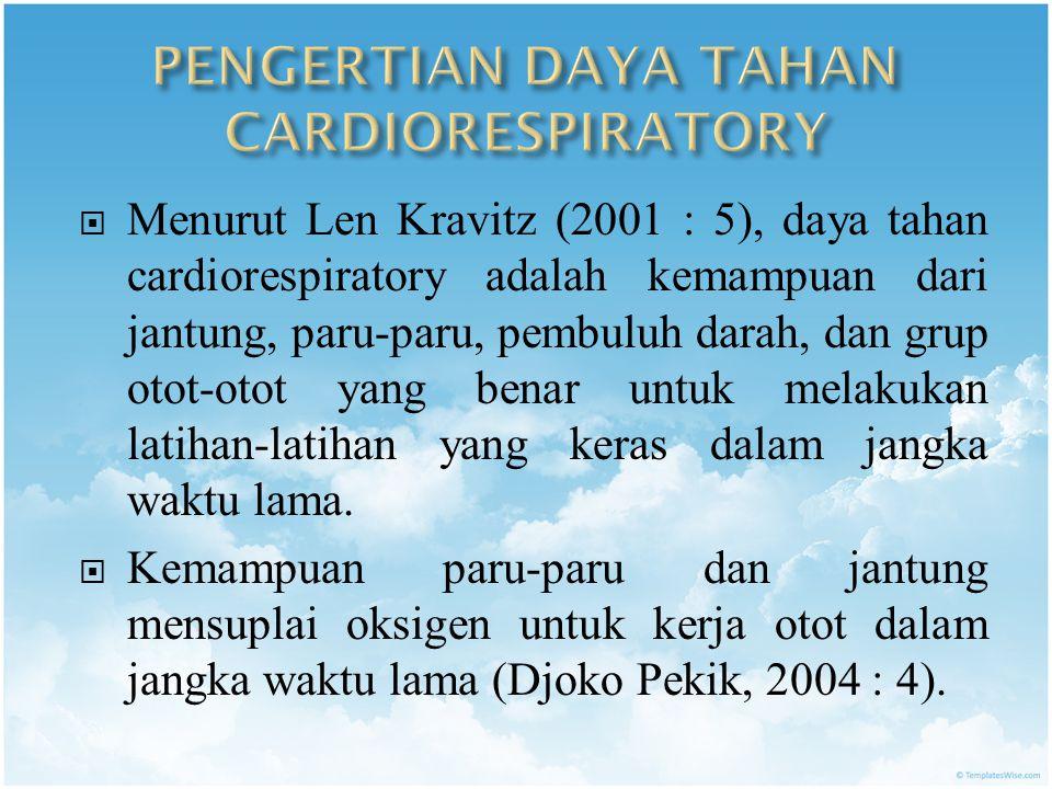 PENGERTIAN DAYA TAHAN CARDIORESPIRATORY