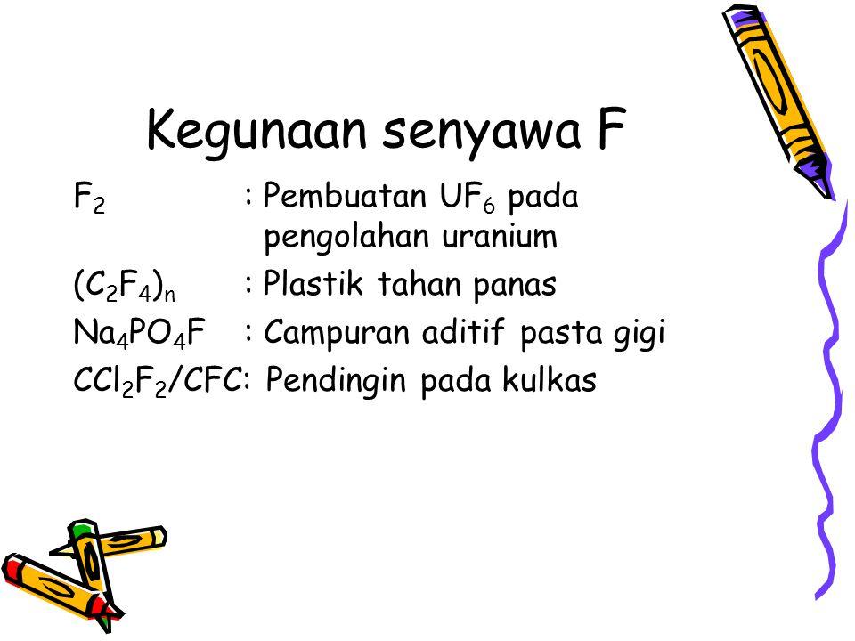 Kegunaan senyawa F F2 : Pembuatan UF6 pada pengolahan uranium