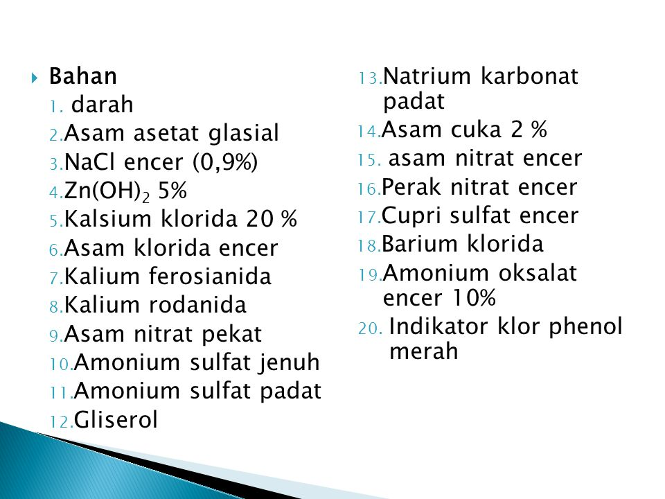 Bahan Natrium karbonat padat. darah. Asam asetat glasial. Asam cuka 2 % NaCl encer (0,9%) asam nitrat encer.