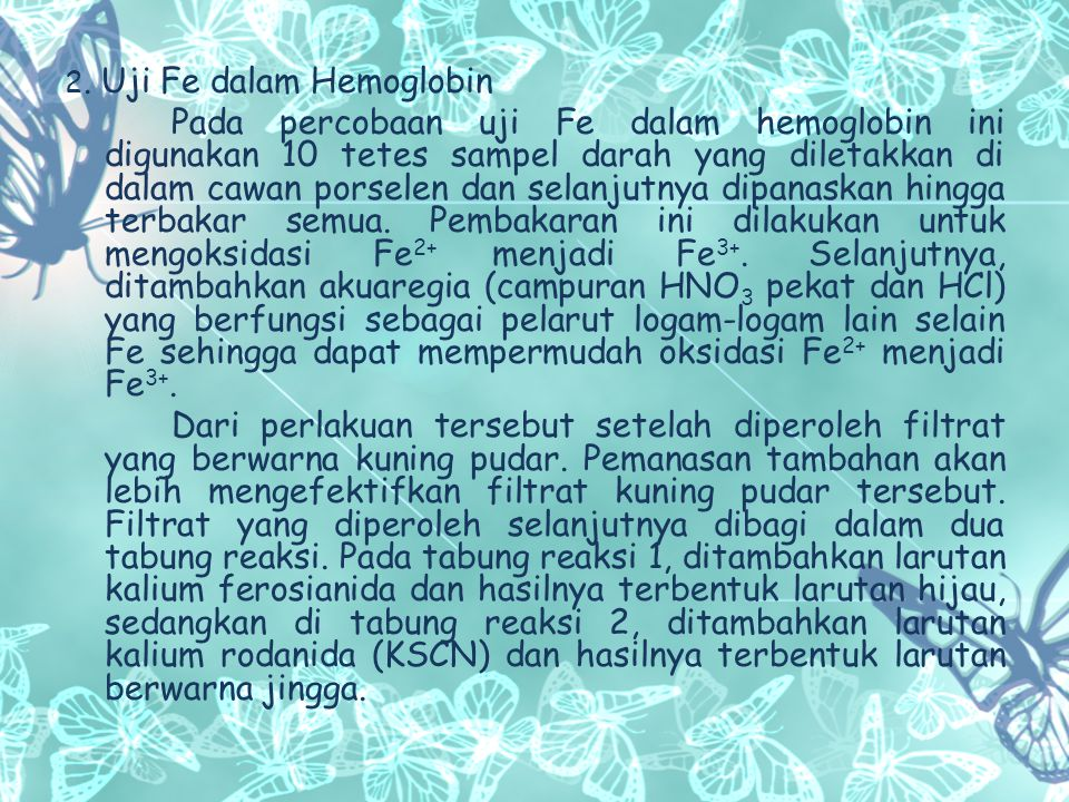 2. Uji Fe dalam Hemoglobin