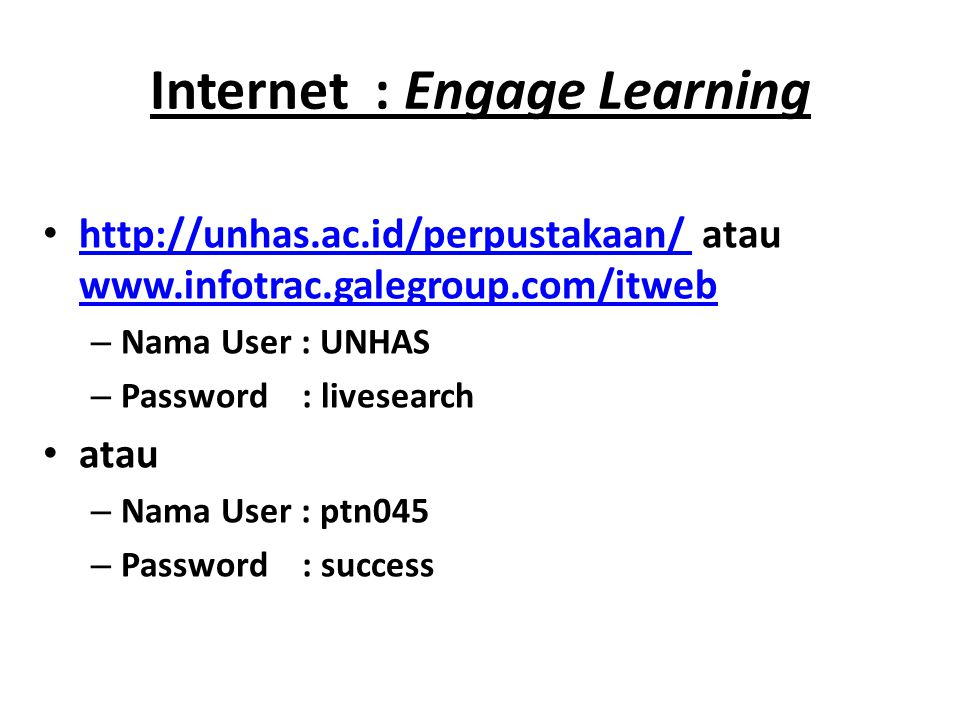 Internet : Engage Learning