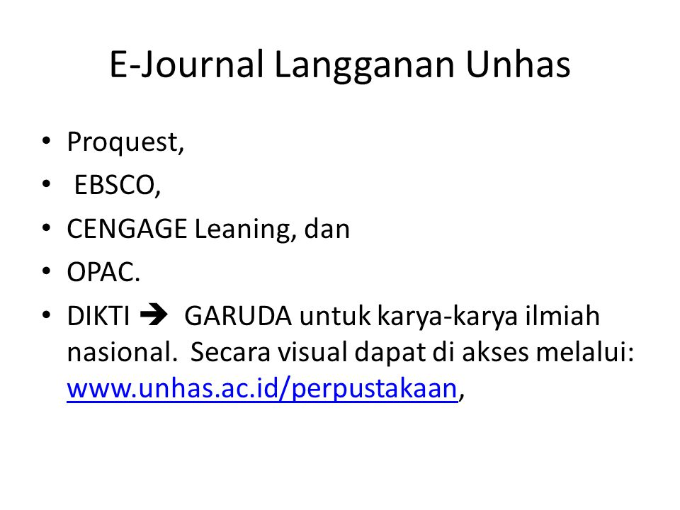E-Journal Langganan Unhas