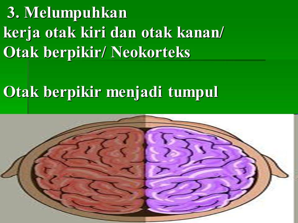 3. Melumpuhkan kerja otak kiri dan otak kanan/ Otak berpikir/ Neokorteks.