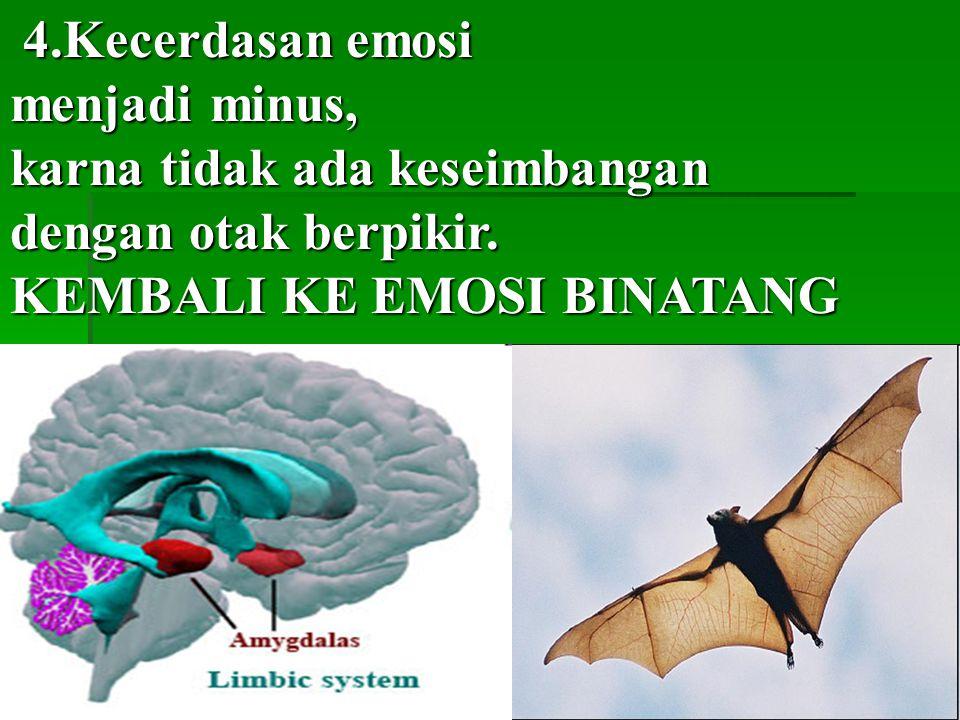 4.Kecerdasan emosi menjadi minus, karna tidak ada keseimbangan.