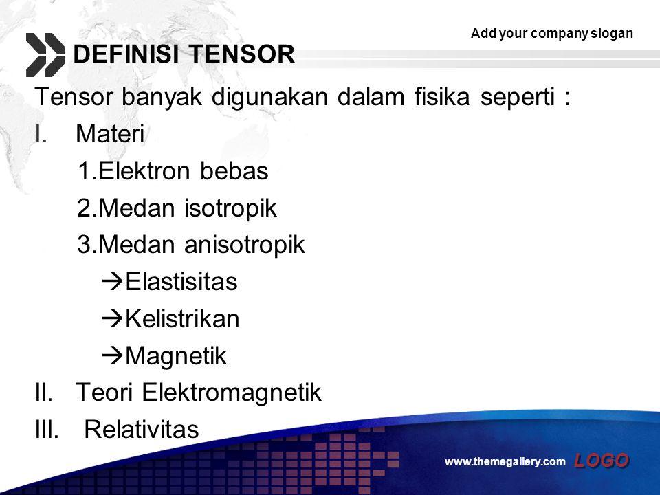 Tensor banyak digunakan dalam fisika seperti : Materi 1.Elektron bebas