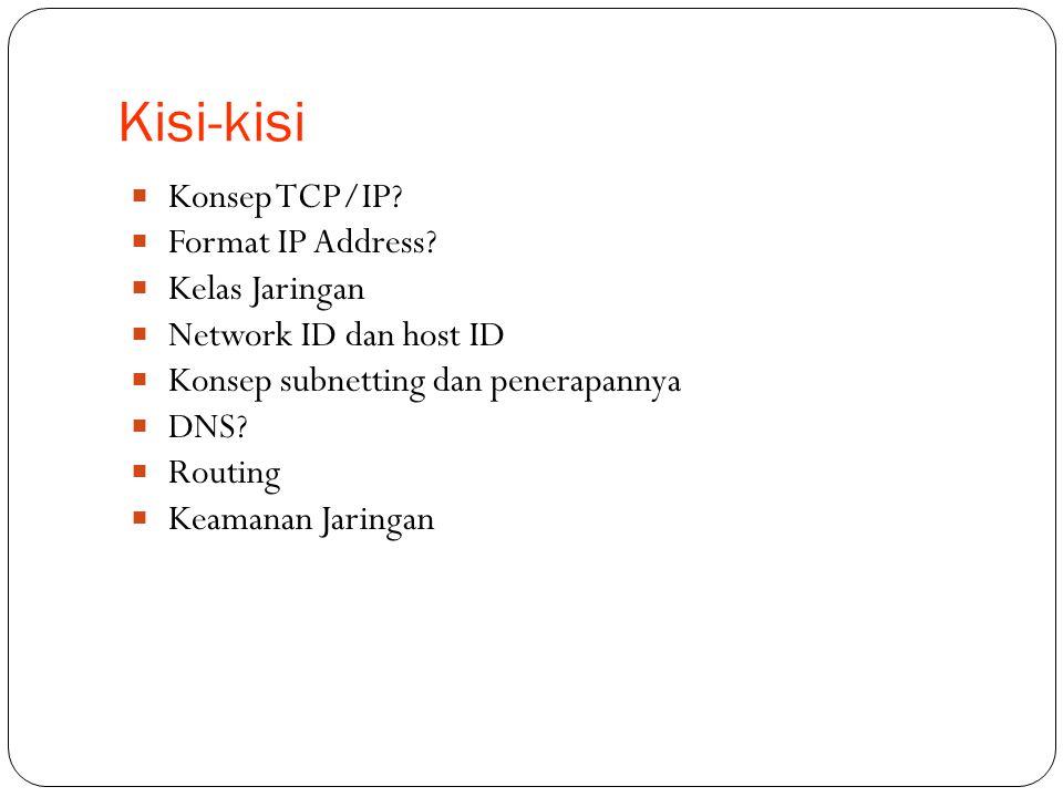 Kisi-kisi Konsep TCP/IP Format IP Address Kelas Jaringan