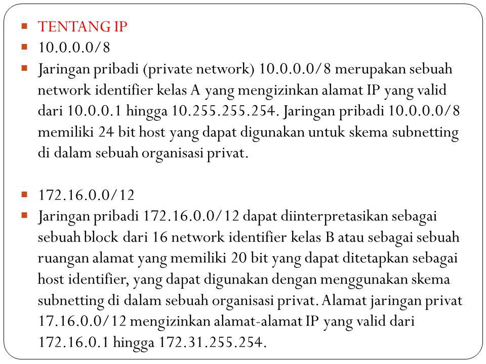 TENTANG IP 10.0.0.0/8.
