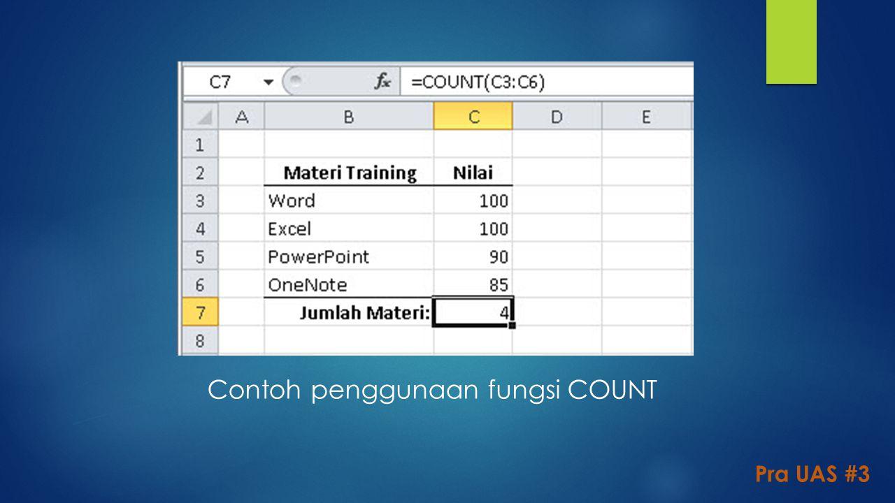 Contoh penggunaan fungsi COUNT